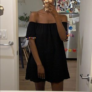 Tube top dress with fringed sleeve